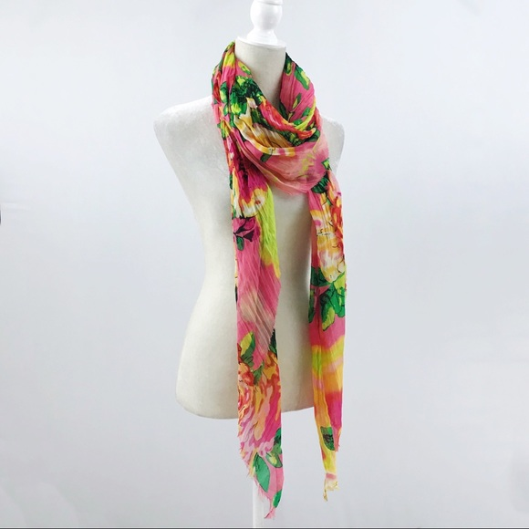 Betsey Johnson Accessories - Betsy Johnson Silky Neon Pink Purple Floral Scarf